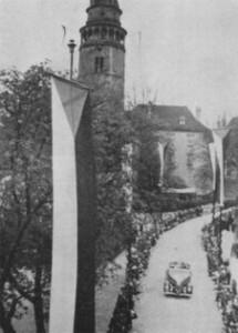 Slavnostní uvítání prezidenta Dr. Edvarda Beneše Jeho Jasností Dr. Adolfem ze Schwarzenbergu v roce 1937