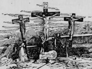 """Dobové vyobrazení scény """"Křížová cesta"""" z Hořického pašijového filmu v americkém tisku"""