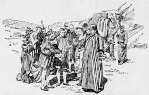"""Dobové vyobrazení scény """"Prodej Josefa do otroctví"""" z Hořického pašijového filmu v americkém tisku"""