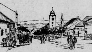 """Dobové vyobrazení scény """"The Village Street"""" z Hořického pašijového filmu v americkém tisku"""